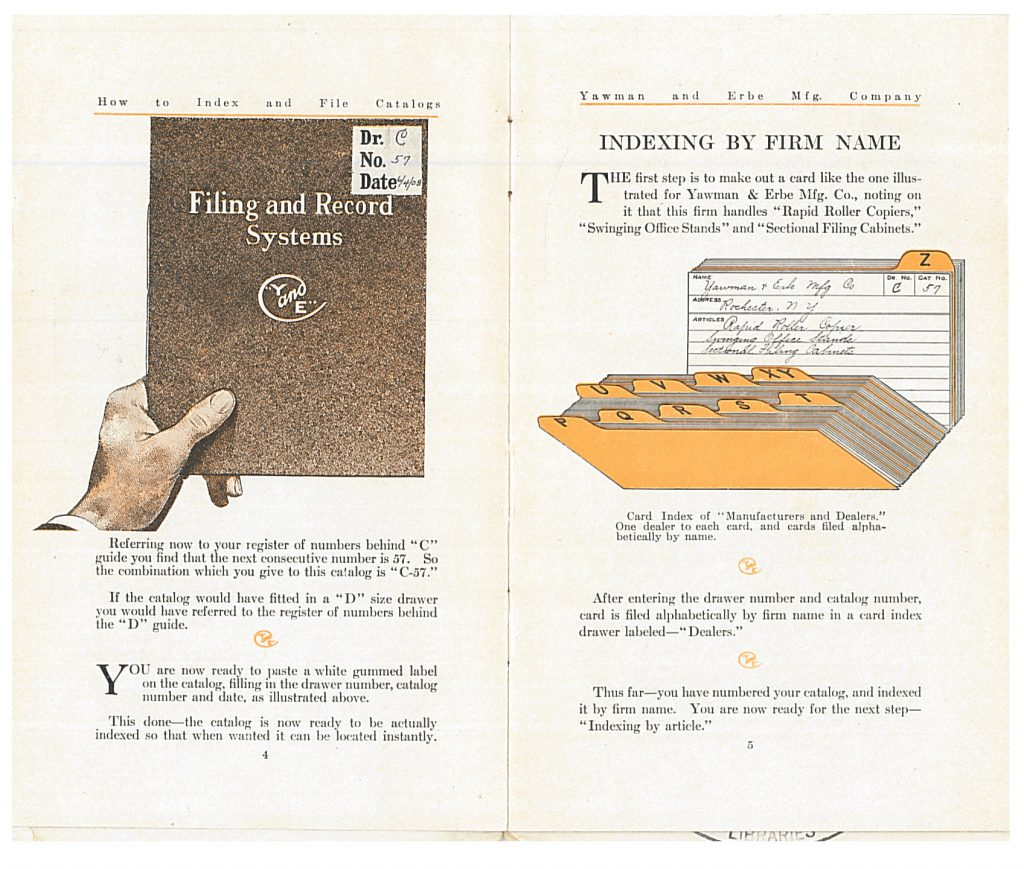 gummed label attached to front cover of catalog and card index for manufacturers and dealers