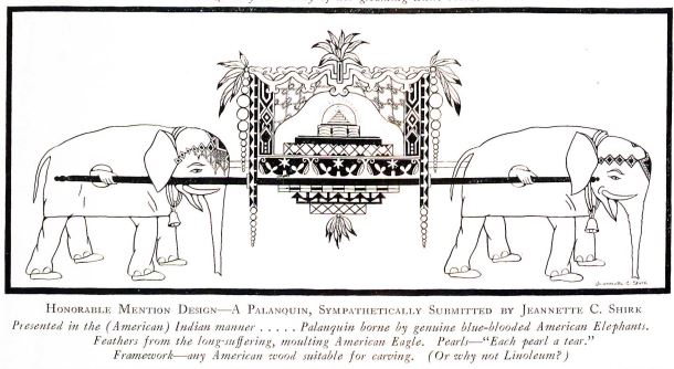 An honorable mention humorously intended to be designed with American products. Four humans disguised as elephants carry the Palanquin in the style of a throne with the wisdom tooth perched on top of at small pyramid in the center.