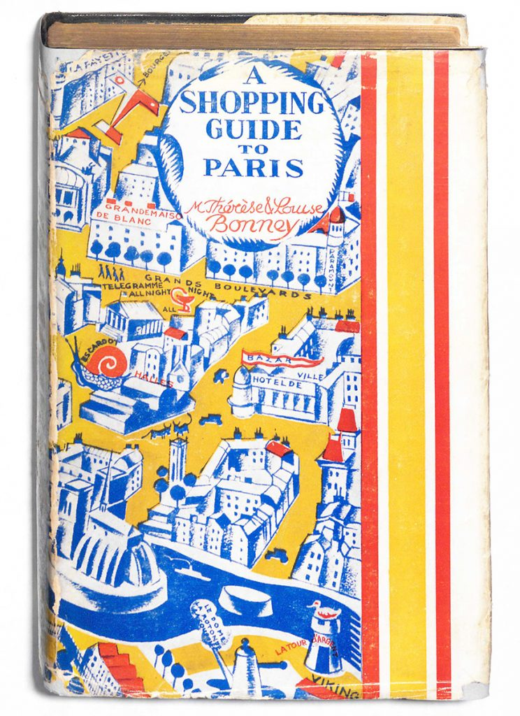 Book jacket of A shopping guide to Paris, by Thérèse and Louise Bonney. 1929