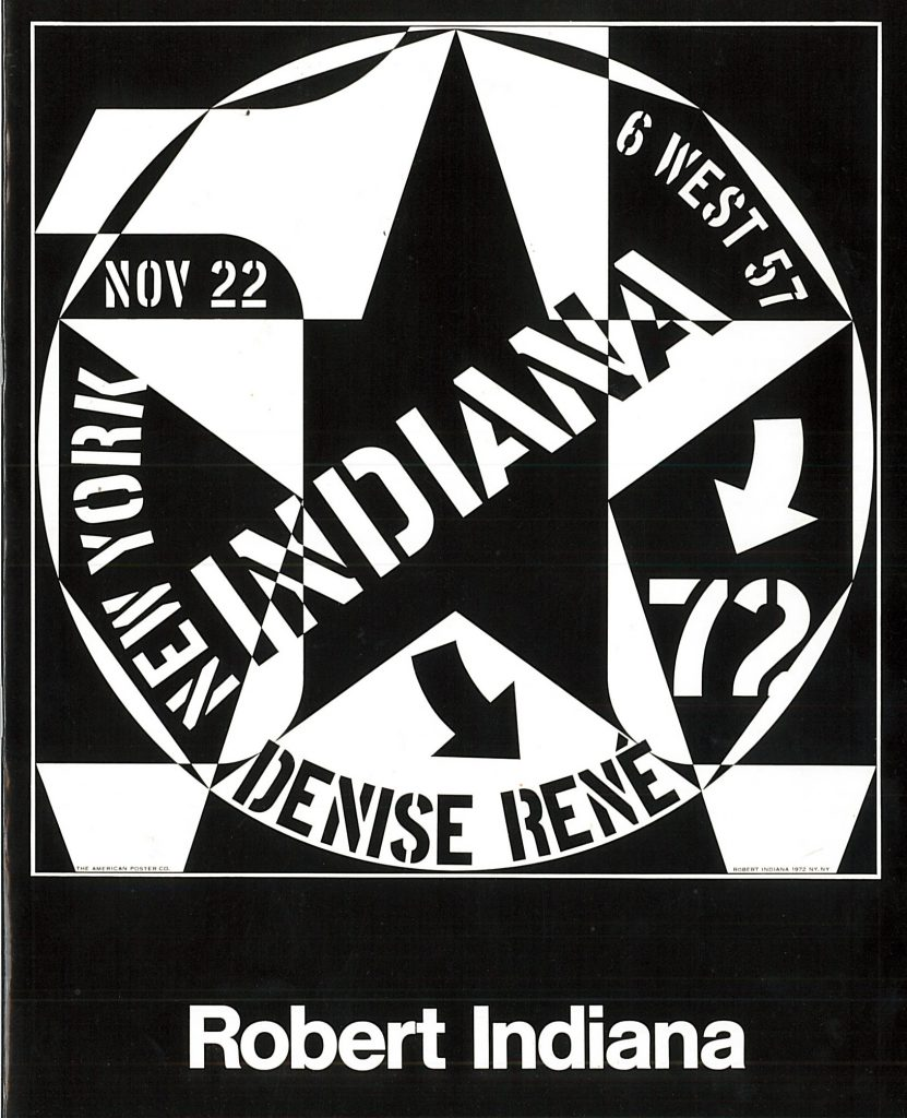 Cover of the catalogue of the Robert Indiana show at Galerie Denise René in New York from November to December 1972.