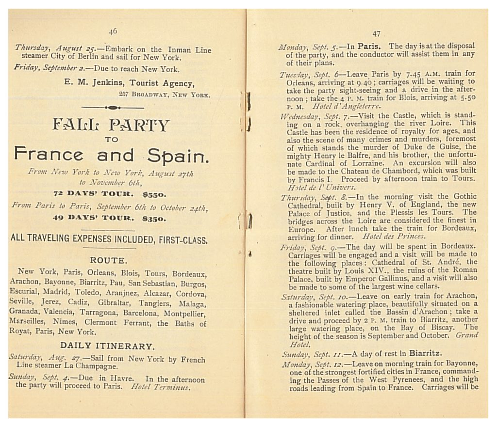 Fall Party to France and Spain Itinerary for August 27 to September 12, 1892