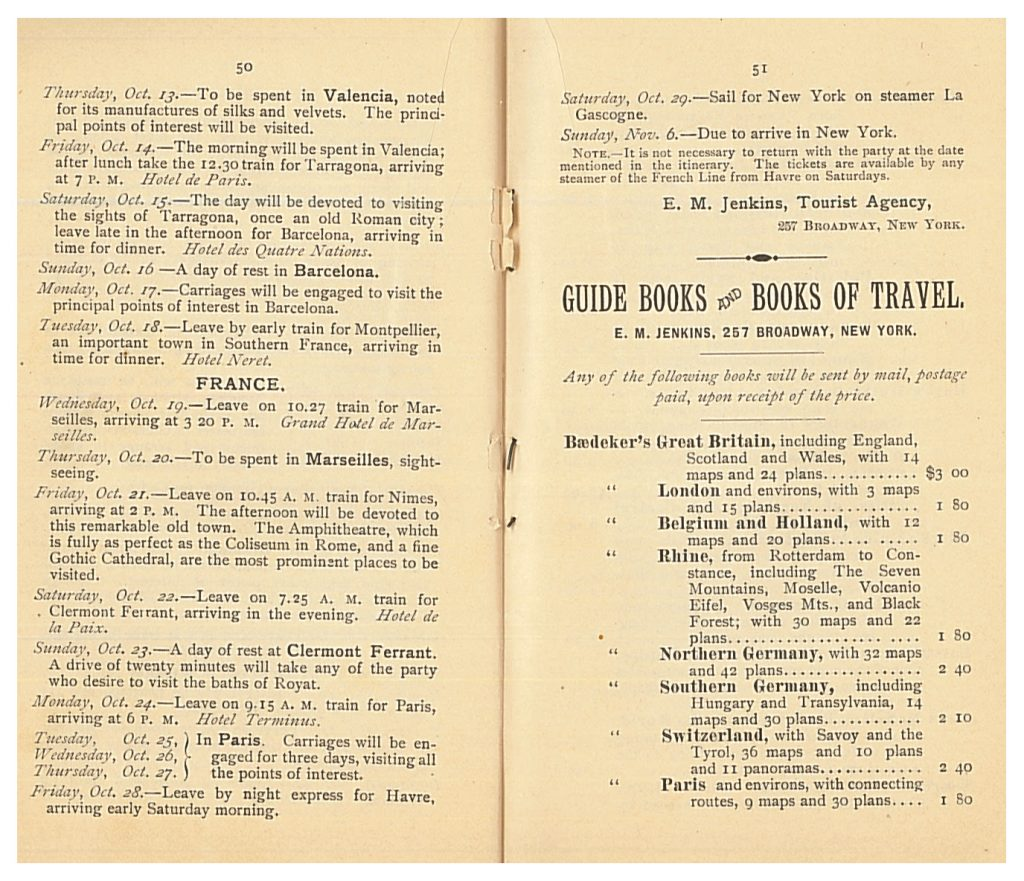 Fall Party to France and Spain Itinerary for October 13 to November 6, 1892 and a list of guidebooks