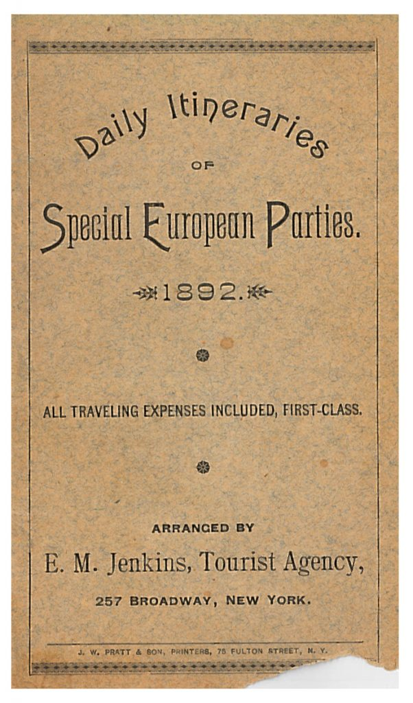 front cover of Daily Itineraries of Special European Parties 1892