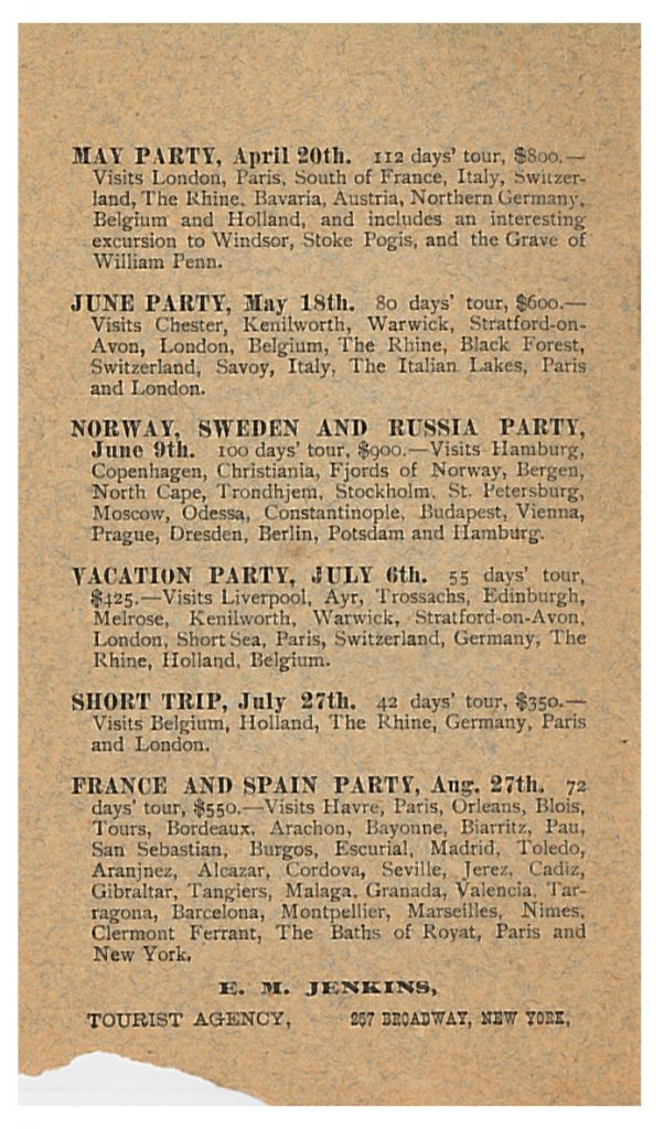 list of tours including cities visited for 1892