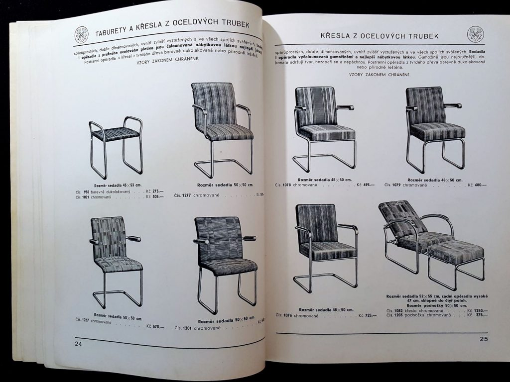 Tubular steel chair frames with fabric upholstery.
