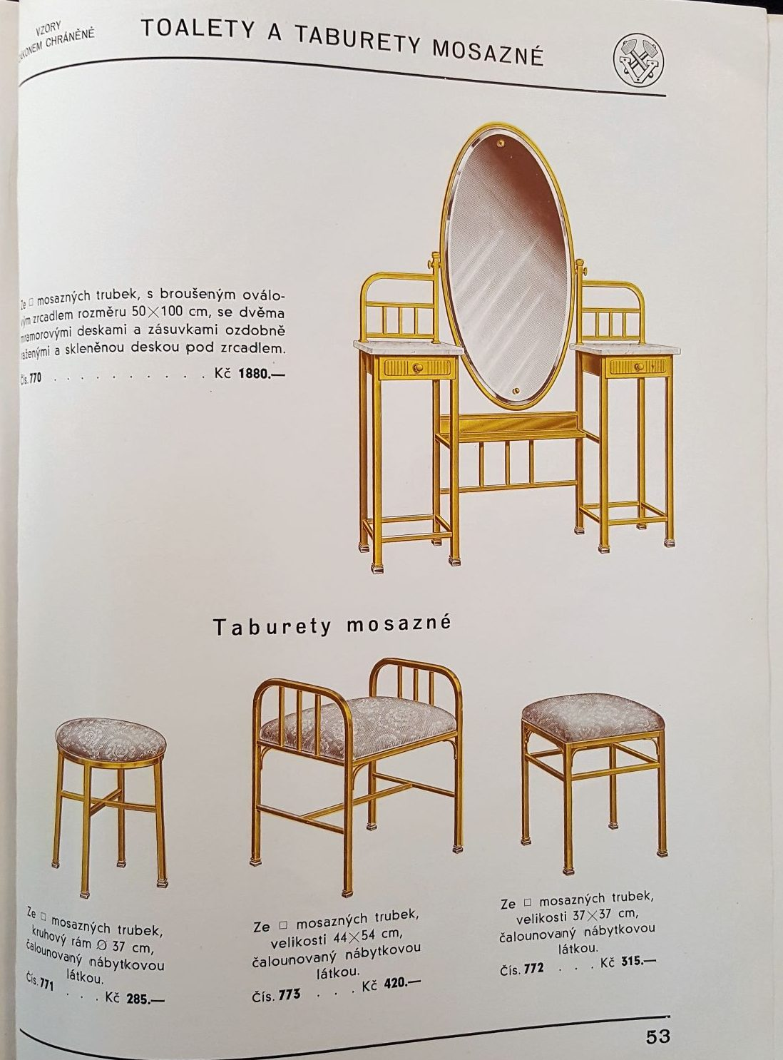 Image features tubular steel dressing tables with gold finishes. Pleasescroll down to see the blog post about this object.