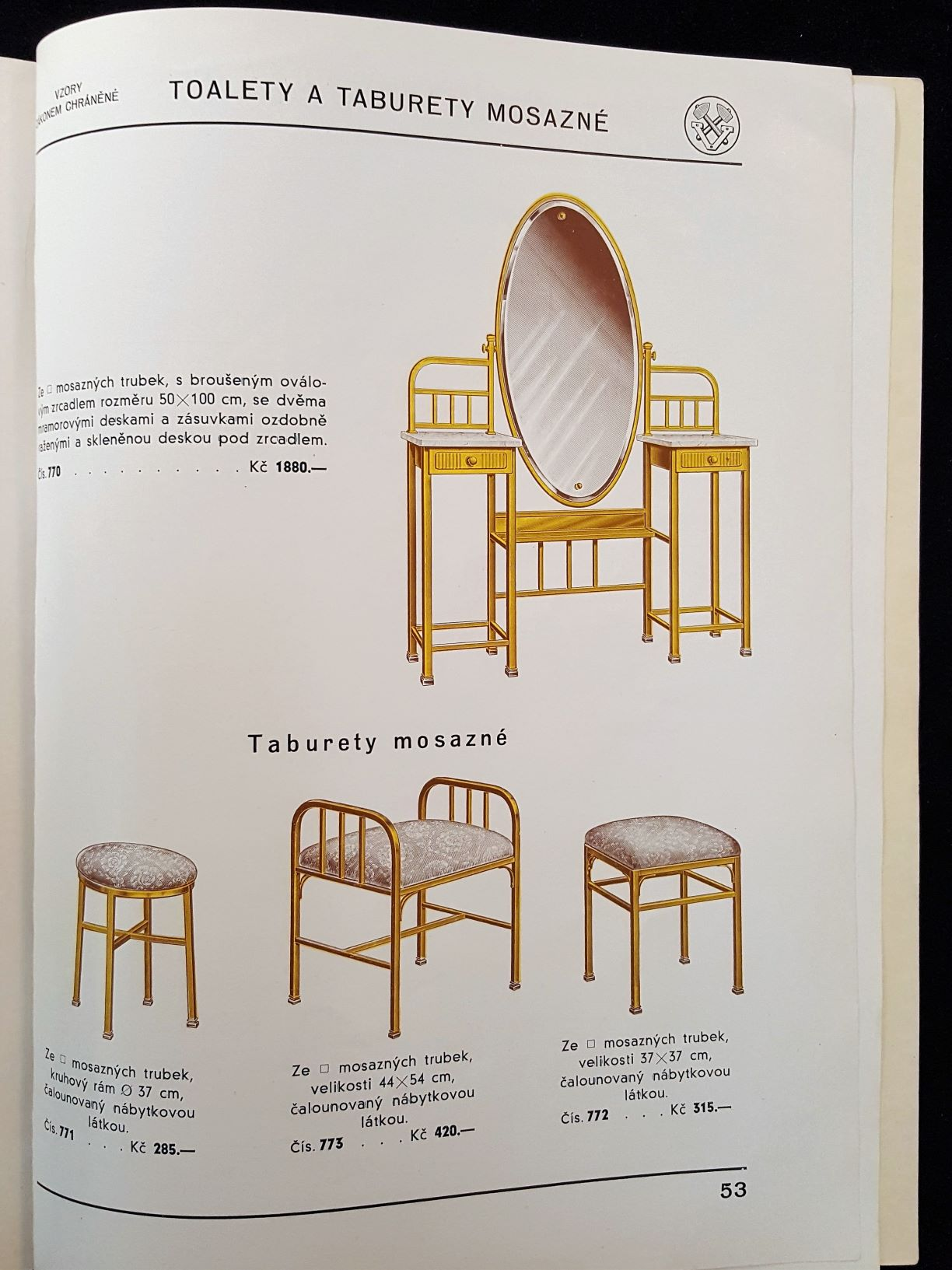 Image features tubular steel dressing tables with gold finishes.
