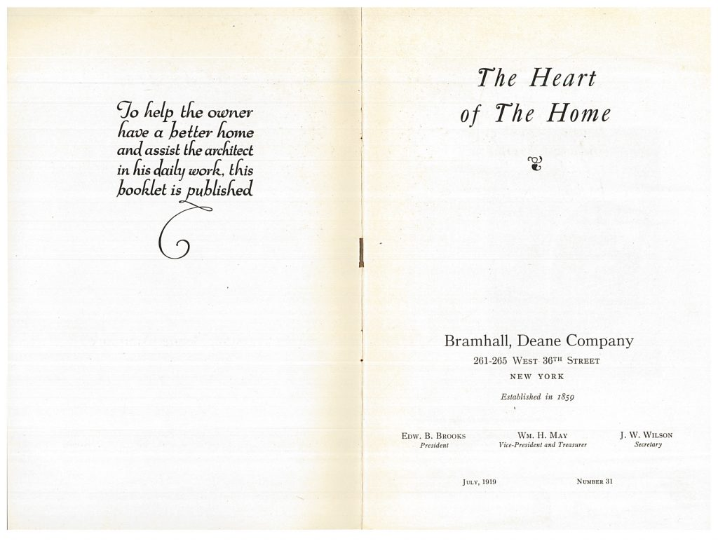 title page and opposite page of Heart of the Home trade catalog