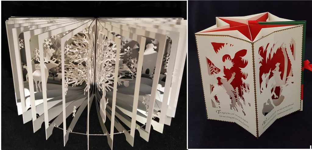 Left: Image features Snowy world : 360° book by Yusuke Oono. Right: The first Noël : a Christmas carousel by Jan Pienkowski .
