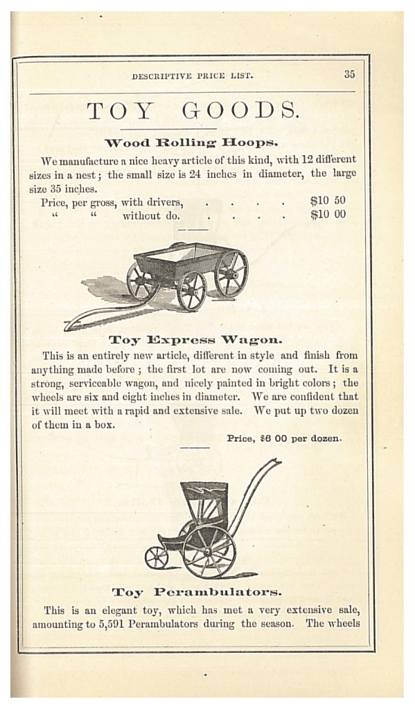 toy express wagon and toy perambulator