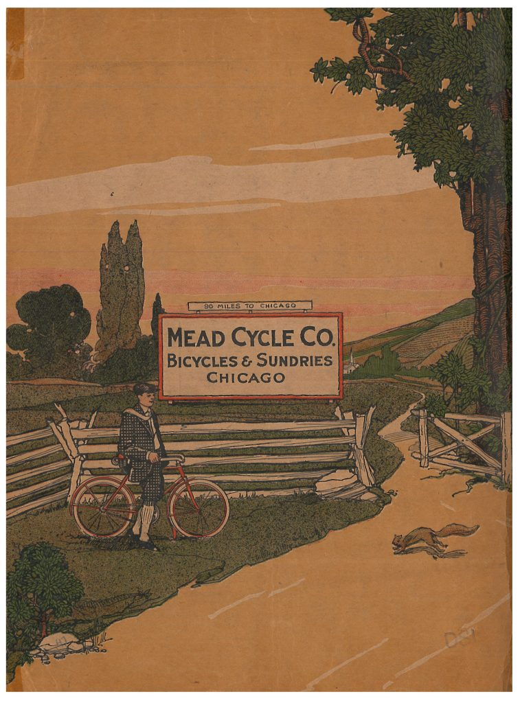 Back cover of catalog showing a man with his bicycle resting on the side of a road while a squirrel crosses