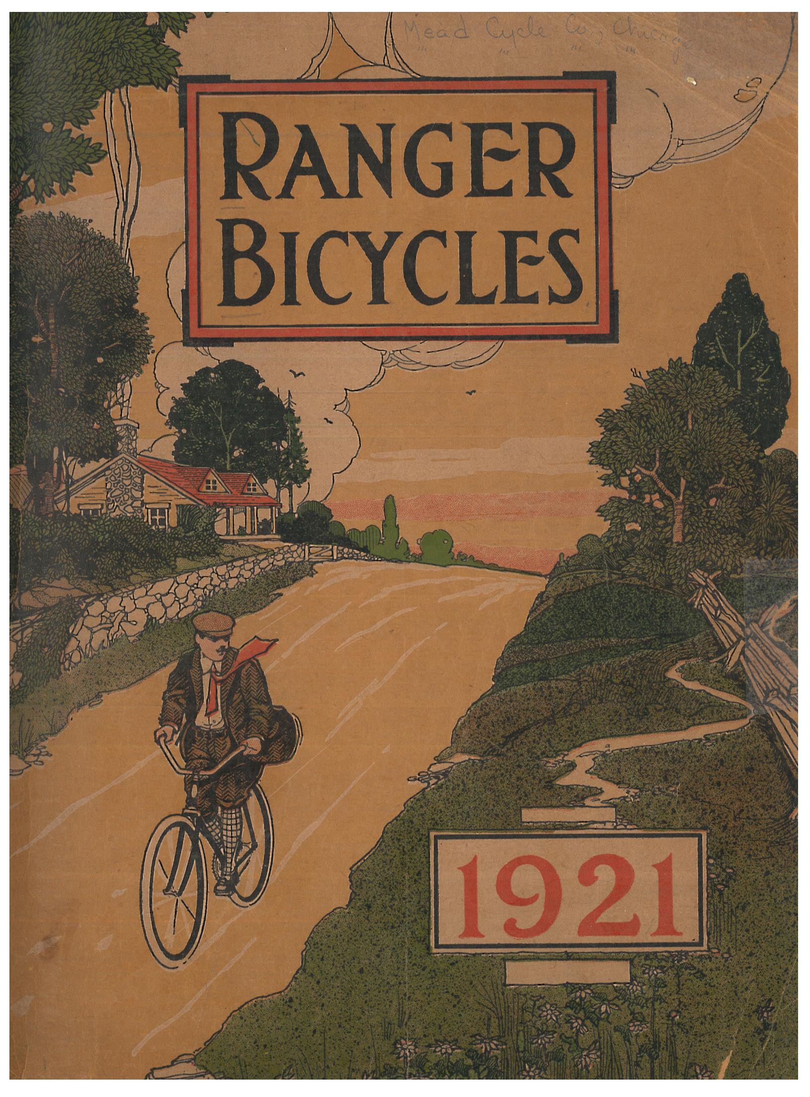 front cover of Ranger Bicycles 1921 catalog showing a man riding a bicycle down a road