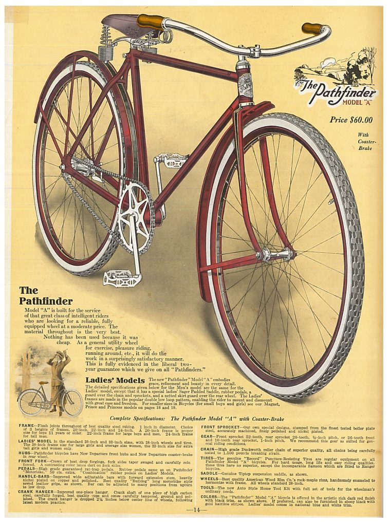 """Men's Pathfinder Model """"A"""" bicycle and a smaller image of a Ladies' Pathfinder Model """"A"""" Bicycle with a lady standing next to it"""