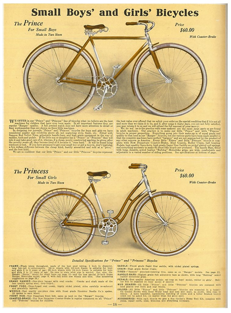 """""""Prince"""" bicycle for boys and """"Princess"""" bicycle for girls"""