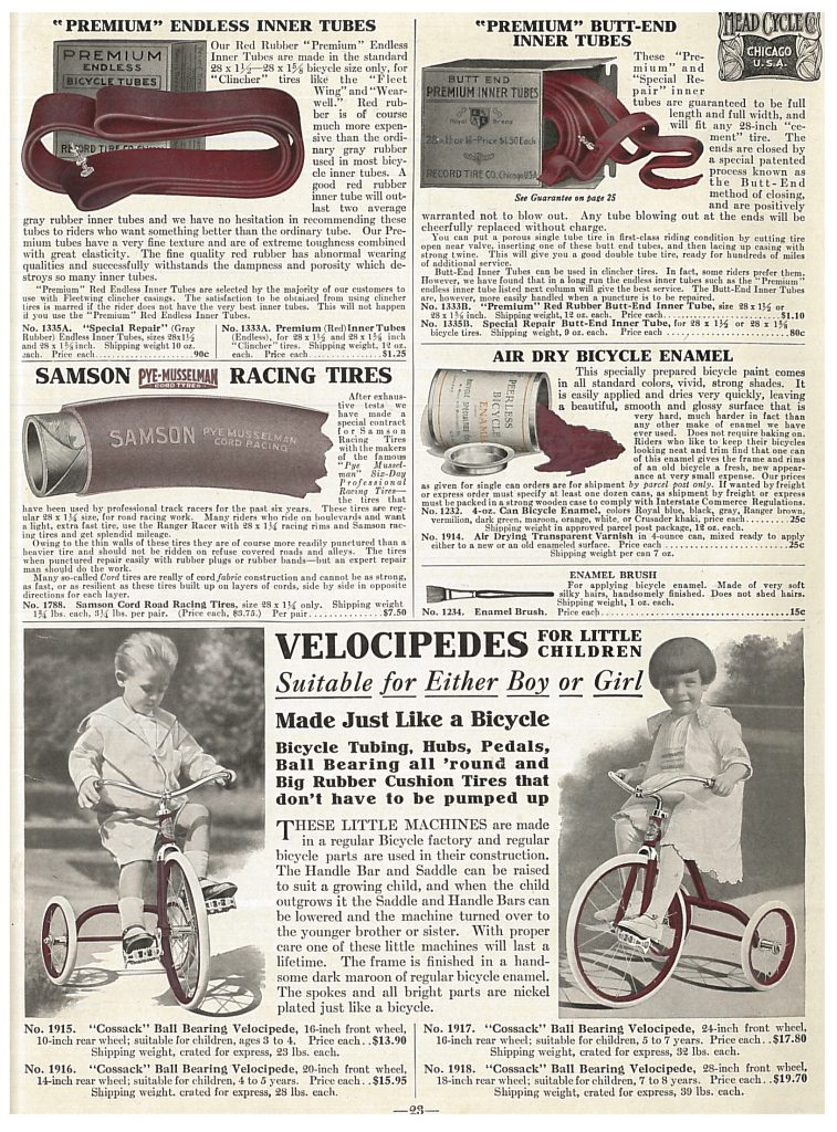 A boy and girl each riding velocipedes and images of inner tubes, racing tires, and bicycle enamel