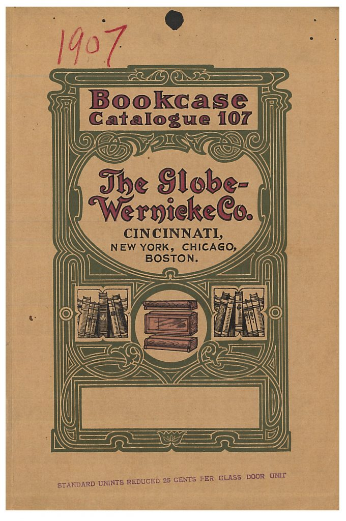 front cover of catalog showing books and a portion of a sectional bookcase