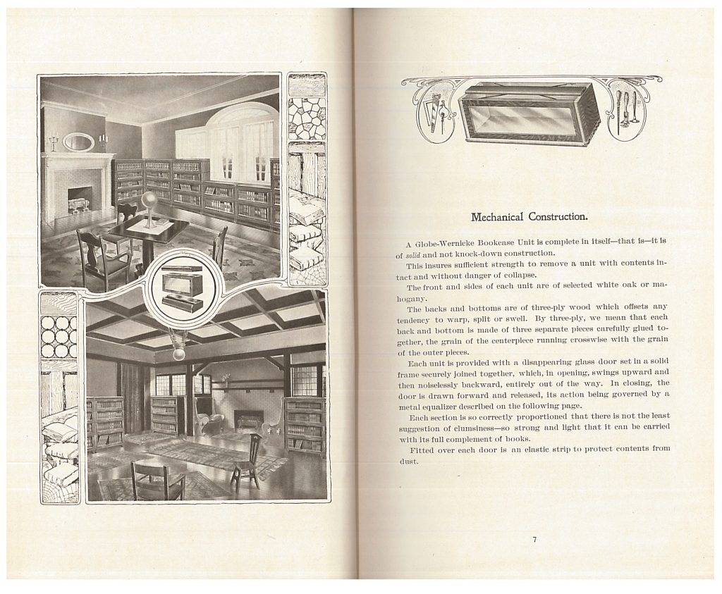 "two library interiors using ""Elastic"" Bookcase System and explanation of construction of units"