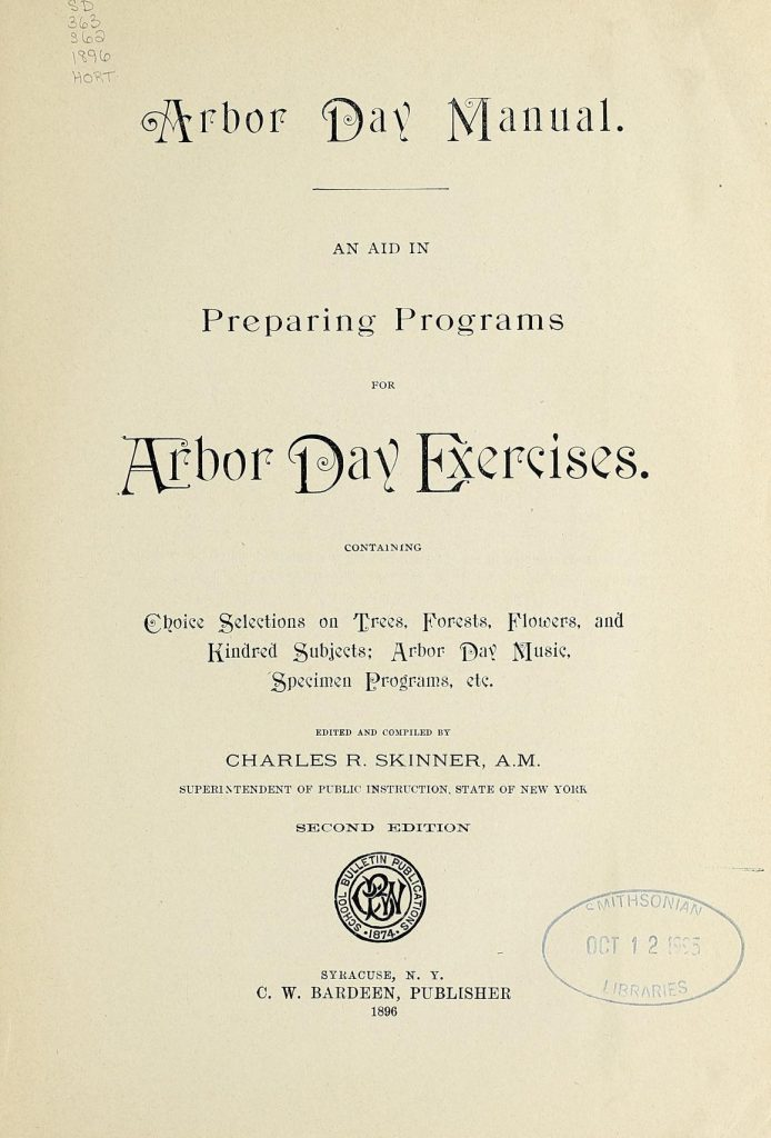 "Title page from ""Arbor Day Manual""."