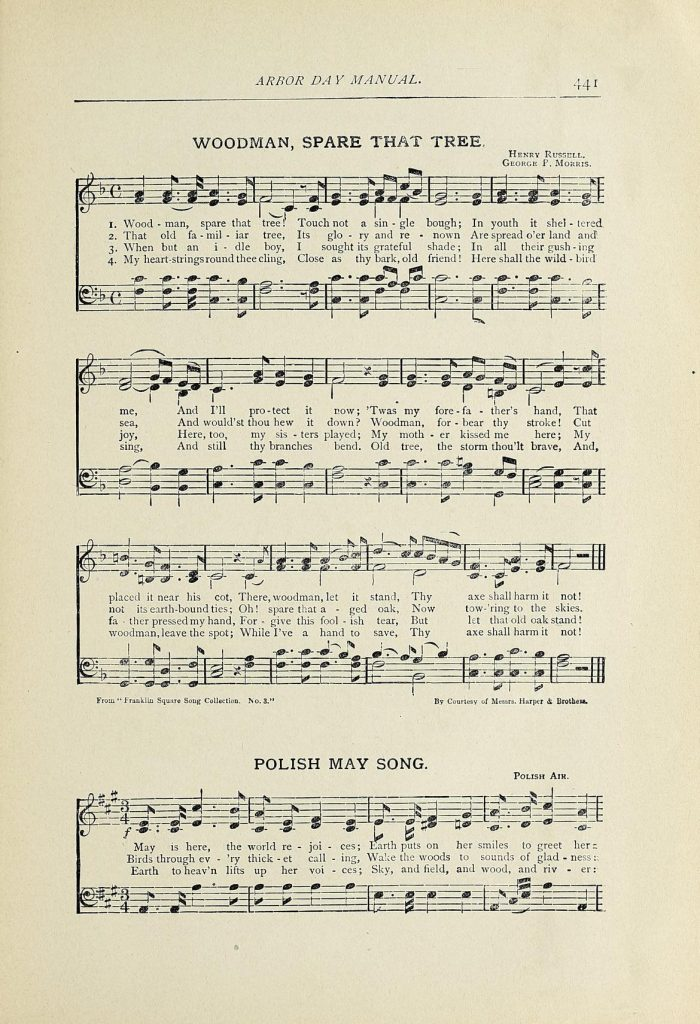 "Music and lyrics for ""Woodman, Spare that Tree"" and ""Polish May Song"" from Arbor Day Manual."