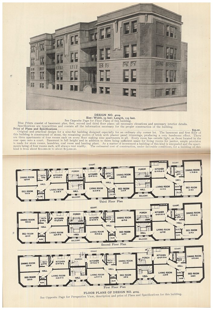 perspective view and floor plans of three story apartment building with basement