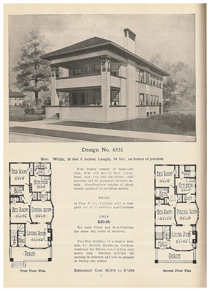 perspective view and floor plans of two story flat building