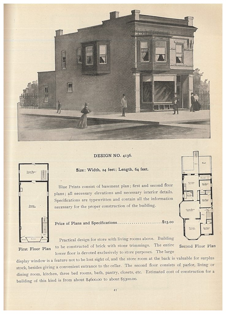 perspective view and floor plans for a two story building with store and living space