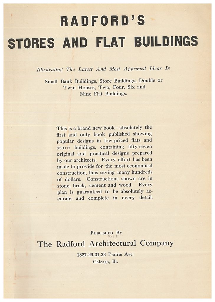 title page of Radford's Stores and Flat Buildings 1913 trade catalog