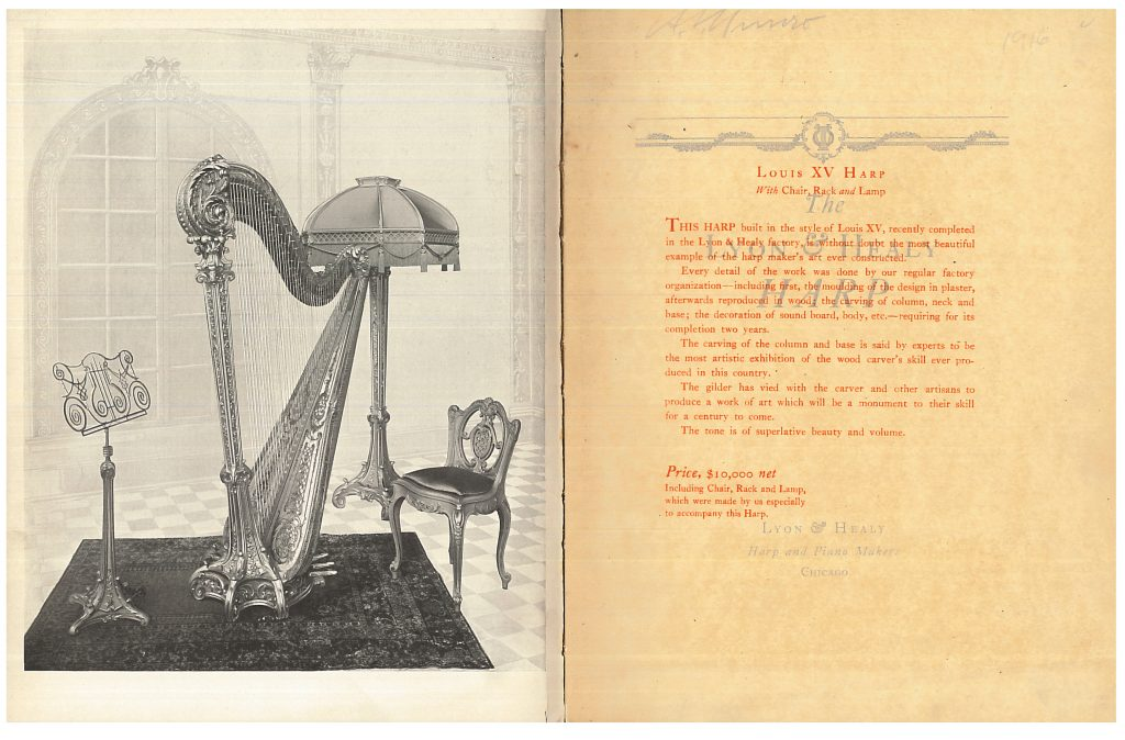Louis XV Harp with Chair, Rack, and Lamp