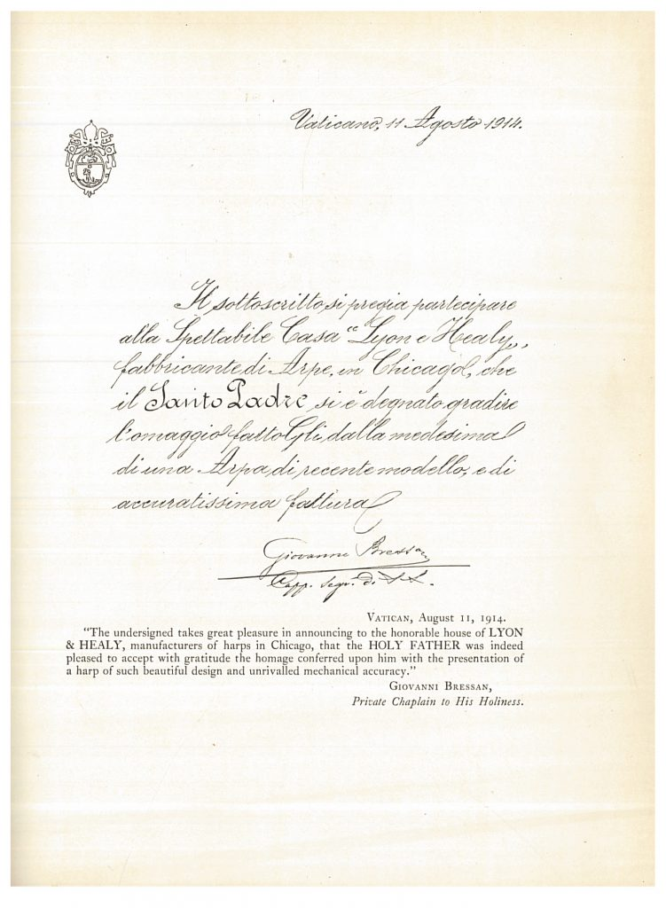 Letter of Appreciation from the Vatican dated August 11, 1914 for the presentation of a harp