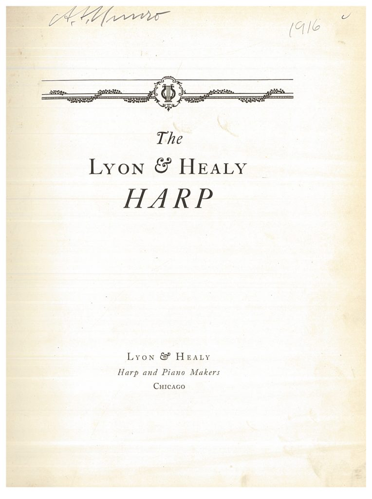 title page of Lyon & Healy Harp trade catalog