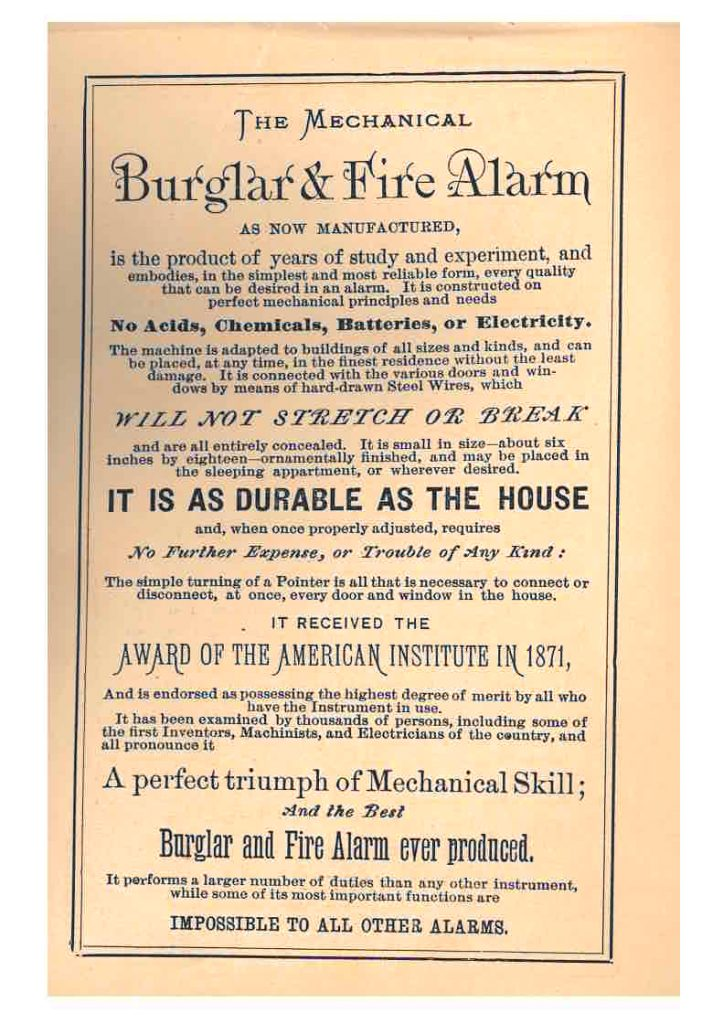 Description of Mechanical Burglar and Fire Alarm