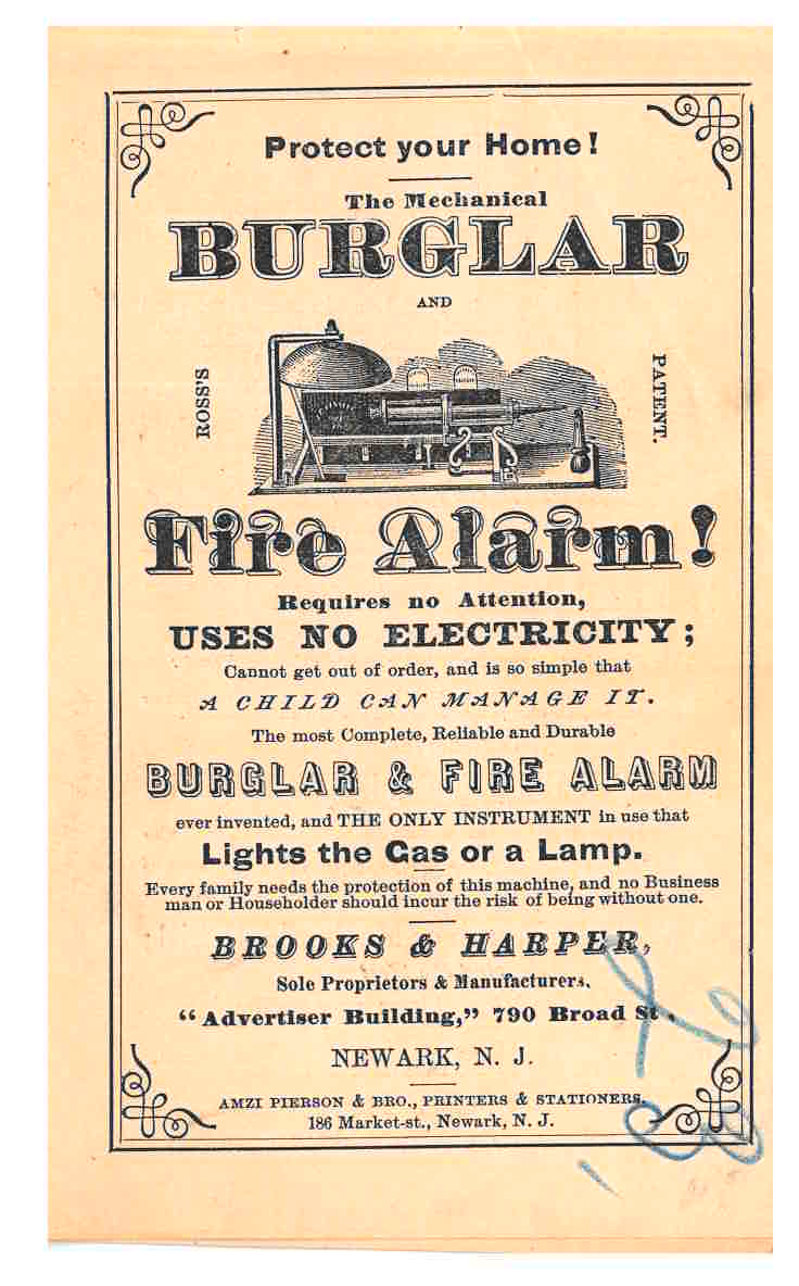 Mechanical Burglar and Fire Alarm shown on front cover of catalog