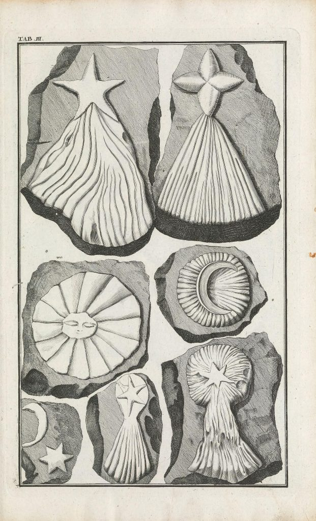 Engraved image of hoax fossils containing celestial elements described by Beringer.