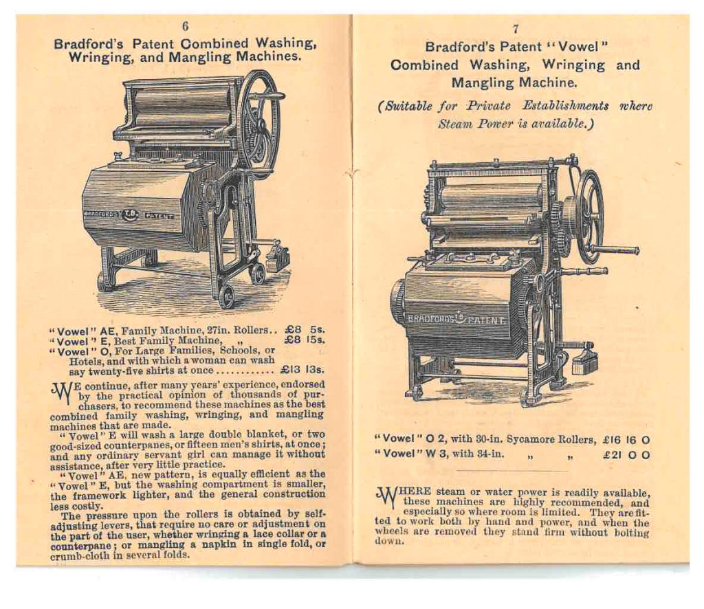 two combined washing, wringing, and mangling machines