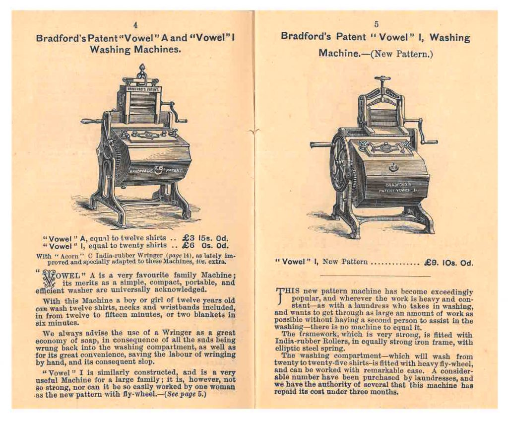 "two ""Vowel"" washing machines"