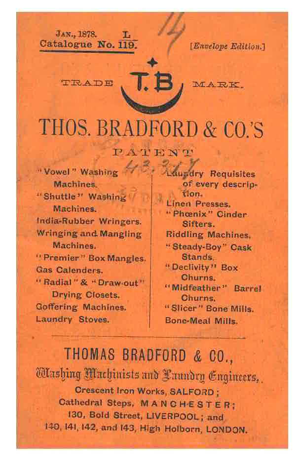 front cover of 1878 Thomas Bradford & Co. trade catalog