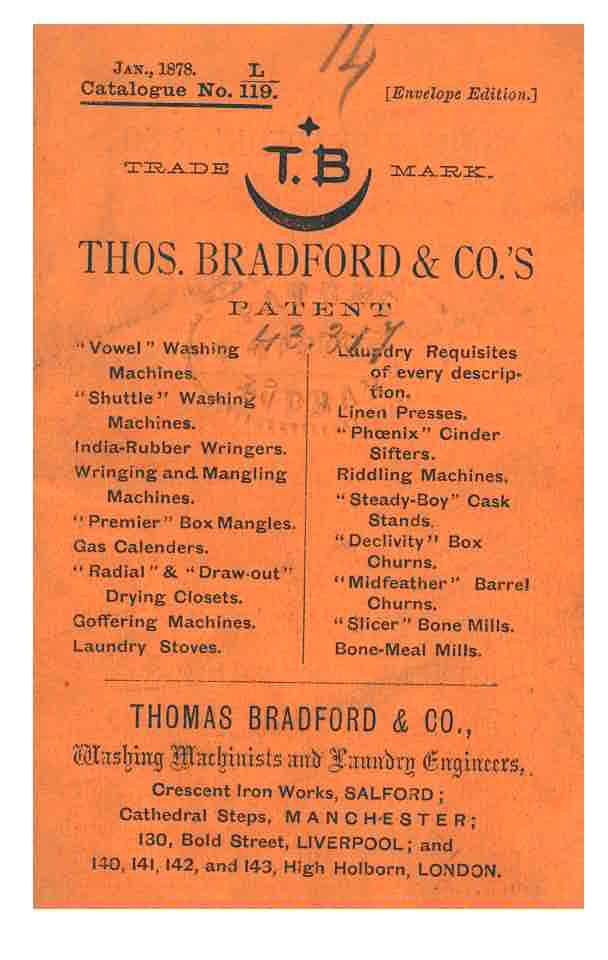 front cover of 1878 Thomas Bradford & Co. trade catalog