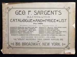 This image features the cover of Geo. F. Sargent's illustrated catalogue and price list for 1886.