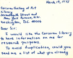 Scan of a note card addressed to the Corcoran Gallery of Art from Lee Krasner offerings a list of articles that provide information about her. Dated March 19, 1975.