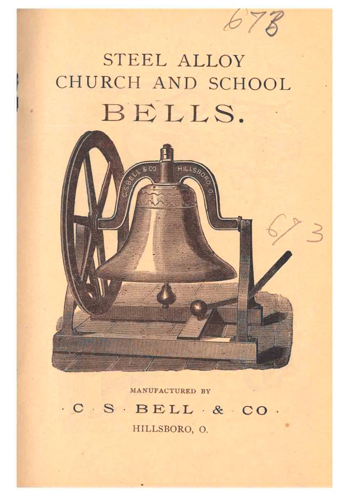 title page of trade catalog showing a bell