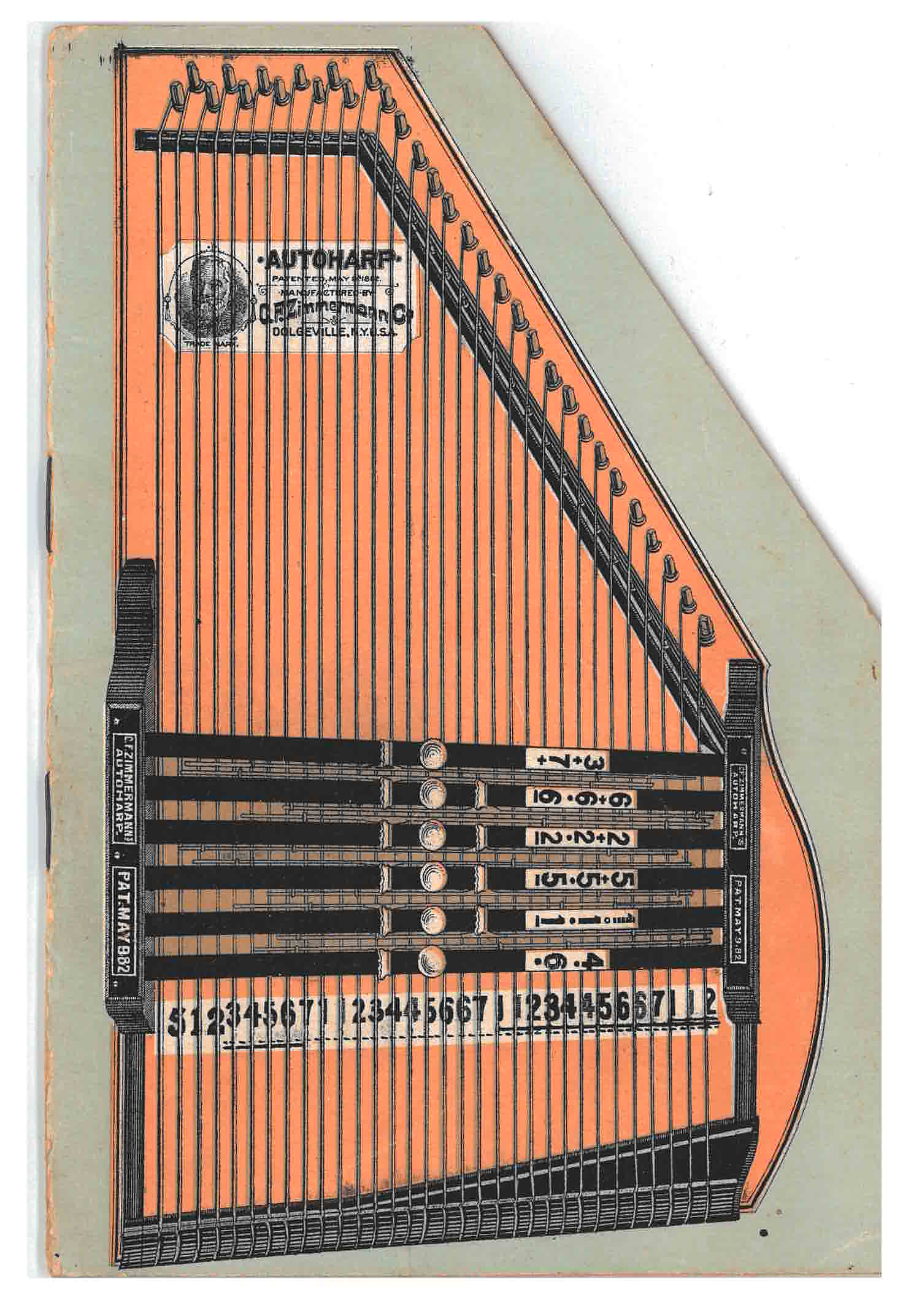 front cover of trade catalog shaped like an autoharp and illustrating an autoharp