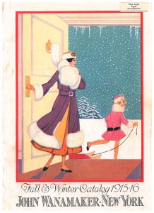 front cover of trade catalog showing lady and girl pulling sled walking outdoors into a snowy landscape