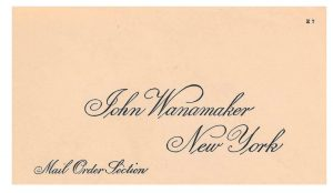 front of 1915-1916 envelope for Mail Order Section of John Wanamaker in New York