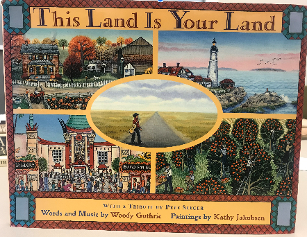 Book cover with various American scenes.