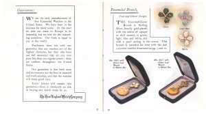 Guarantee (left page) and four-leaf clover enameled brooch designs with two brooch-watches in velvet boxes (right page)