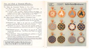 "description of watch sizes and types of enameled cases (left page) and All-Enameled (Dull Repousse) ""Elf"" size watches (right page)"