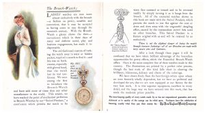 "lady wearing a brooch-watch and No. 8811 watch with Fleur de lis brooch and ""swivel pendant"" (left page) and ""swivel pendant"" as shown on a brooch-watch (right page)"