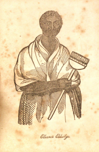 Black and white print of African American woman holding long, broom-like brush.
