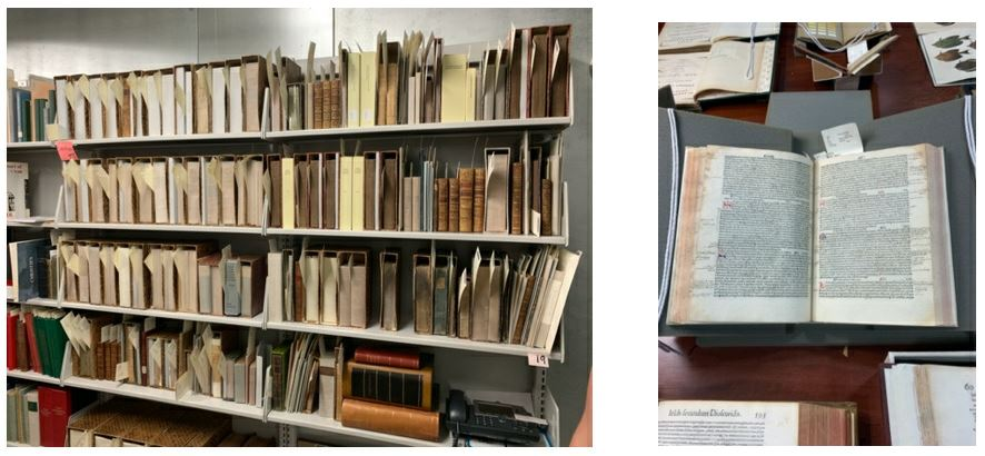 Left image: shelves of 18th and 19th century books. Right: 15th century early printed book open to a page with marginalia.