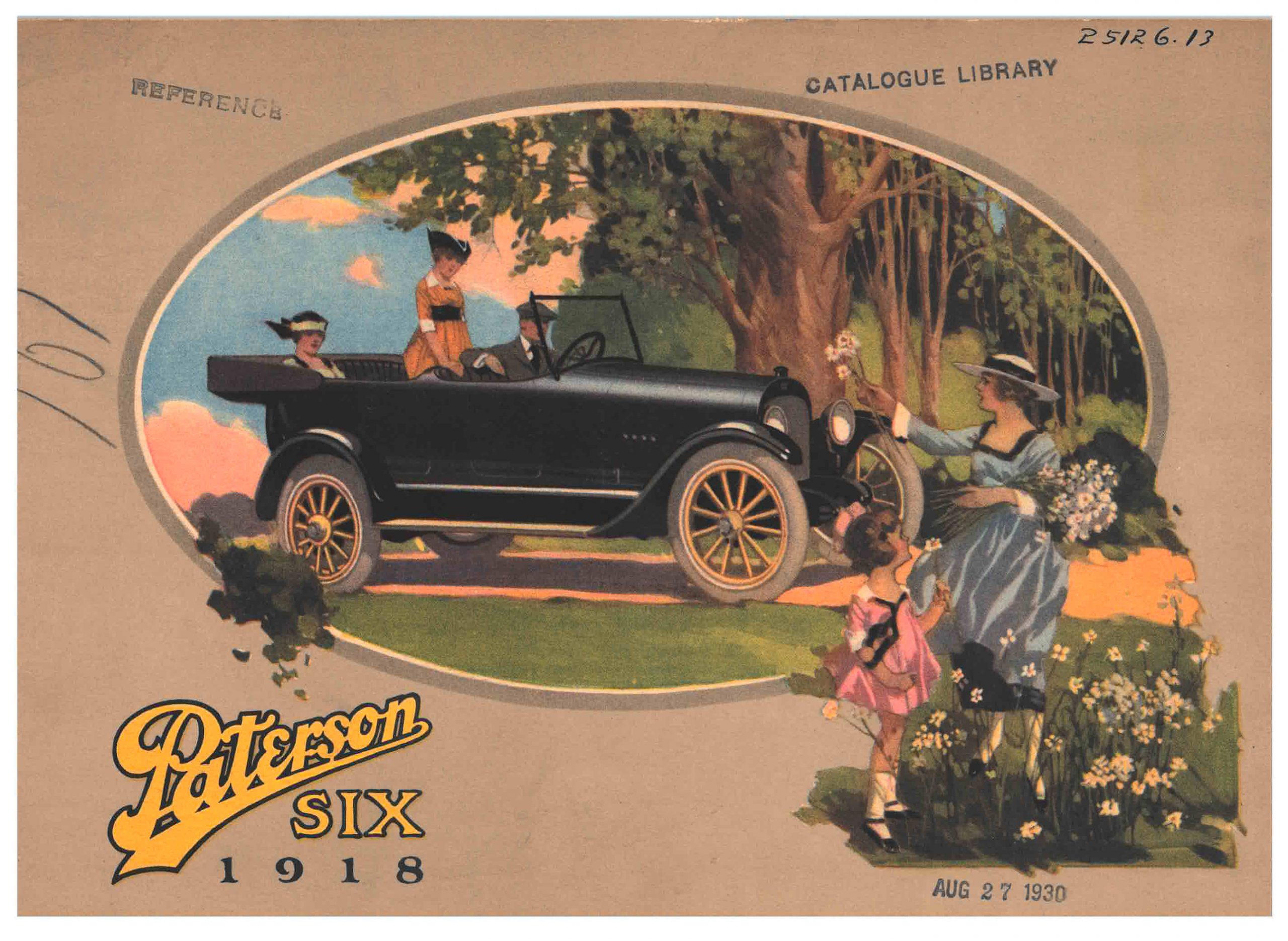 man and two women in a car while a girl and lady pick flowers on the side of the road